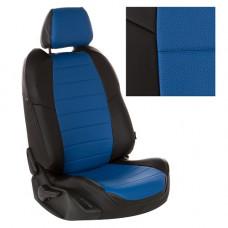 Авточехлы из экокожи на ППУ 5 мм для Lada Vesta, черный+синий