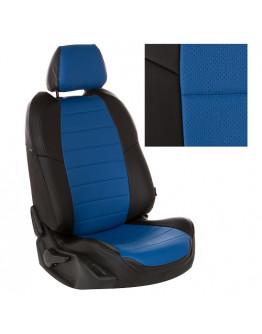 Авточехлы из экокожи на ППУ 5 мм для Hyundai Solaris, черный+синий