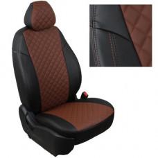 Авточехлы из экокожи ППУ 5мм + ромб, черный+коричневый