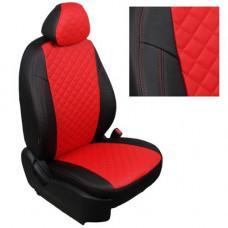 Авточехлы из экокожи ППУ 5мм + ромб, черный+красный