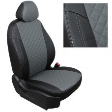Авточехлы из экокожи ППУ 5мм + ромб, черный+серый