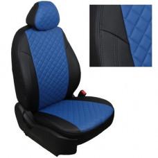 Авточехлы из экокожи ППУ 5мм + ромб для Lada Largus, черный+синий