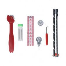 Набор для шитья 7 инструментов (линейка, сантиметр, копир, вспарыватель, нитковдеватель, наперсток, иглы швейные) (SS-010) gamma