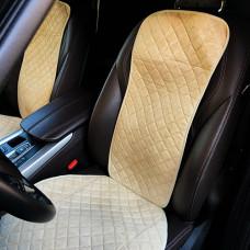 Накидки на передние сиденья авто бежевые (комплект 2шт)из замши