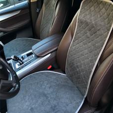 Накидки на передние сиденья авто темно-серые (комплект 2шт) замша