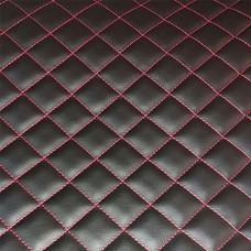 Экокожа стеганая черная 1 мм, стежка 3-слойная, ппу 5 мм сетка, нитки красные