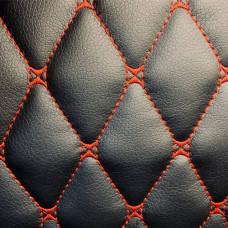 Экокожа черная стеганая красной ниткой ромб бабочка + ППУ5 + сп