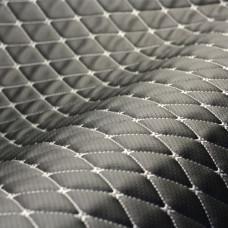 Экокожа черная перфорация стеганая серой ниткой ромб бабочка + ППУ5 мм + спанбонд